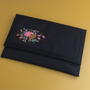 Vintage Black Embroidered Clutch